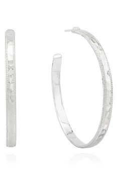 Free shipping and returns on Anna Beck Large Hammered Hoop Earrings at Nordstrom.com. Handmade in Bali using traditional jewelry techniques, these slender hoop earrings are textured with braided borders and hammered to reflect the light. 90s Jewelry, Anna, Nordstrom, Hoop Earrings, Bracelets, Silver, Handmade, Bali, Traditional