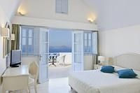 Santorini Hotels, Honeymoon Destinations, Hotels And Resorts, Beach House, Greece, Cabin, Bedroom, Places, Furniture