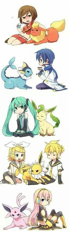 .Pokemon & Vocaloid crossover. Hell ya. I feel like Miku would be the trainer, with an eevee of course, and the rest of the vocaloids should be gym leaders! How do that sound? But of course everyone has their own opinion and I respect their honesty.
