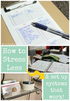 How to Stress Less & Set Up Systems That Work - creating order from chaos to run a more efficient household, plus TWO FREE PRINTABLES!!