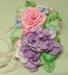 Pink Roses and purple wisteria cuff