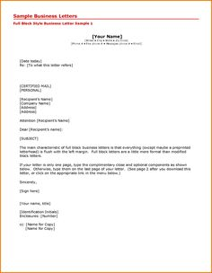 Via Business Letter Format Semi Block Style Modified Example