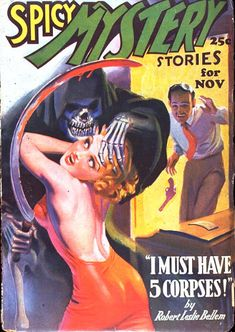 Spicy Mystery 1936 horror pulp cover art. Death and the Maiden. Death grim reaper Father Time scythe maiden girl woman dance danse macabre skull skeleton