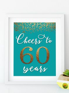 Items similar to Cheers to 40 Years, Anniversary Sign, Birthday Sign, Confetti Turquoise Gold Birthday Party Decoration, Birthday décor on Etsy 50th Birthday Party Decorations, Gold Birthday Party, Birthday Ideas, 55th Birthday, Happy 50th Birthday, Birthday Bash, Birthday Presents, Birthday Wishes, Birthday Cards