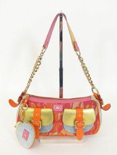 DOLCE & GABBANA D&G SCHULTER TASCHE BAG orange pink - mit LEDER! LUXUS! /RF832 bei www.secondherzog.de