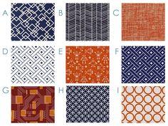 METRO ROBOTS - Modern Orange and Navy - Custom Crib Bedding Set - Blanket, Fitted Sheet, Crib Skirt - Royal Blue