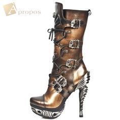 Stiefel Damen 10cm Boots Leder High Heel Stiletto Schwarz Totenkopf Apropos