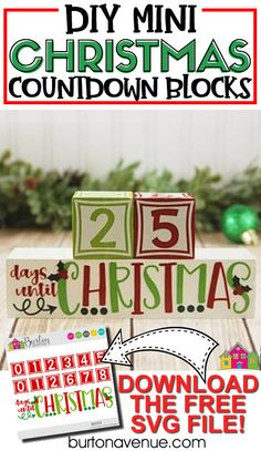 Are you ready to start counting down the days until Christmas arrives. Why not make the countdown easy with these cute mini Christmas countdown blocks. This is a quick and easy Christmas project to make with a Silhouette or Cricut cutting machine. You can get the free SVG cut file from the blog so you can make your own Christmas countdown blocks! Days Until Christmas, Simple Christmas, All Things Christmas, Christmas Time, Christmas Projects, Holiday Crafts, Homemade Christmas Gifts, Free Svg Cut Files, Cute Diys