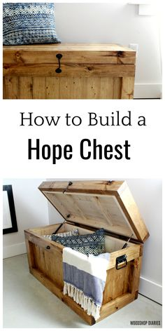These free plans show you step by step how to build your own DIY hope chest/storage trunk. Built with construction lumber and simple joinery, this project is an easy weekend project perfect for end of the bed storage, a toy box, or an entryway bench.