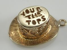 Vintage 3D 9ct Gold Your The Tops Top Hat Charm H/MK 1976 by BishopsAttic on Etsy Diamond Bracelets, Sterling Silver Bracelets, Bangle Bracelets, Bangles, Gold Jewelry, Fine Jewelry, Jewellery, Vintage Charm Bracelet, Sell Gold