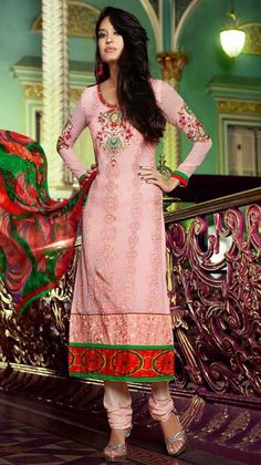 USD 49.77 Pink Georgette Embroidery Churidar Suit 44666