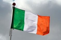 The Irish tricolour of green representing the Gaelic tradition of Ireland, orange representing the followers of William of Orange in Ireland, and white representing the aspiration for peace between them