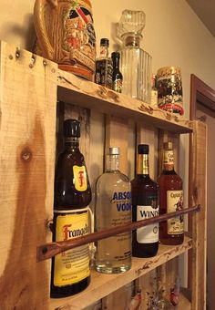 Rústico plataforma muebles madera pared estante licor gabinete