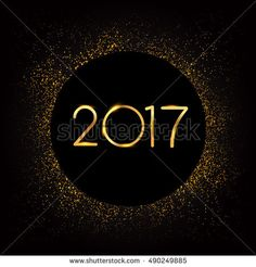 Vector 2017 Happy New Year with golden glitter background, text design