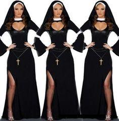 Femme Nonne Costume femme habit Fancy Dress Outfit