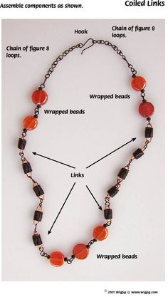 Coiled Links Necklace Jewelry Making Project made with WigJig jewelry tools and jewelry supplies.