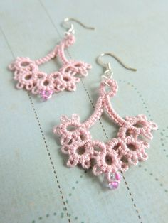 Dusty Pink Lace Floret Earrings with Glass Seed Beads and Silver Plated Earwires by PeekoCrafts Lace Jewelry, Jewelery, Unique Jewelry, Aztec Sweater, Best Friend Shirts, Pink Lace, Dusty Pink, Seed Beads, Silver Plate
