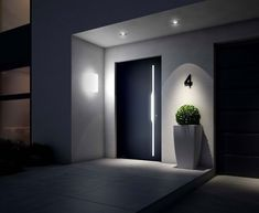 Put the entrance into the right light Hauseingang, Haustür, Beleuchtung, Foto: Weru p House entrance front door lighting photo Weru Put the entrance into the right light House entrance front door lighting photo Weru p Modern Front Door, House Front Door, House Entrance, Entrance Doors, Doorway, Front Porch, Design Exterior, Door Design, House Design