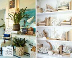Decoração de sala aconchegante em 3 camadas • MeuEstiloDecor Shelves, Home Decor, Beach, Snuggles, Decorating Tips, Bedroom Decor, Architecture, Ideas, Houses