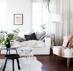 light fabrics + dark floors