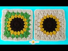 Sunflower Granny Square Crochet - Pattern Tutorial & How To - YouTube