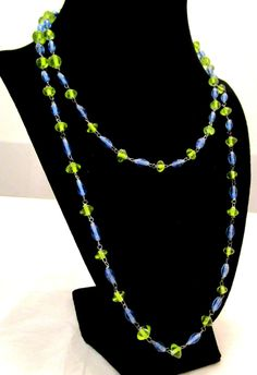 Antique Art Deco CZECHOSLOVAKIA  Powder Blue Peridot Green Long Flapper Necklace by MyJewelsBoutique on Etsy Beaded Necklace, Necklaces, Pendant Necklace, Green Peridot, Birthstones, Deco, Design Inspiration, Pendants, Trending Outfits