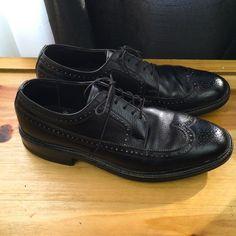 EASY FLEX Vintage Men's Shoes ~ Black Leather Brogue Long Wing Tips ~ US 8.5 M #EasyFlex #Oxfords
