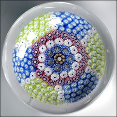 19thC-St-Louis-Millefiori-Carpet-Ground-Mushroom-French-Art-Glass-Paperweight