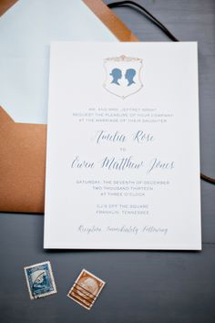 #Silhouette Inspired Wedding Invitations | On #SMP Weddings:  http://www.stylemepretty.com/tennessee-weddings/franklin/2013/12/26/southern-winter-romance-style-shoot-at-cjs-off-the-square/ Photography: Jen & Chris Creed