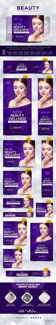 Beauty Web Banners Template PSD | Buy and Download: http://graphicriver.net/item/beauty-banners/10089255?ref=ksioks