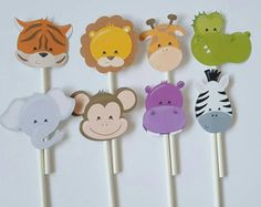 Safari cupcake toppers set of 12 jungle cupcake by JCPaperPlace
