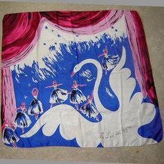 Swan Lake design silk print scarf, c. Textiles, Textile Patterns, Textile Prints, Print Patterns, Vintage Scarf, Vintage Love, Swan Jewelry, Conversational Prints, Vintage Fashion 1950s