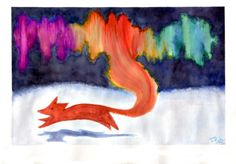 aurora fox by kuuipana Art Activities For Kids, Art For Kids, Moose Silhouette, Art Assignments, Winter Art Projects, 4th Grade Art, Fox Art, Painting Inspiration, Art Lessons