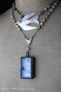 Holy Dove French Prayer Card Necklace
