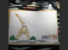 Un dessin publié sur Twitter représente des personnage qui réparent la tour Eiffel.