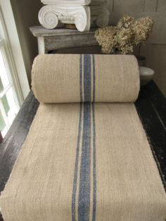 Antique Vintage Stair / Table Runner Hemp Homespun Beautiful Blue Sold Per Yard