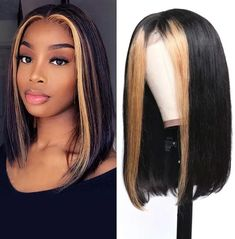 Blonde Highlights Straight Lace Front Human Hair Wig