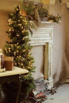 Christmas faux mantle decorations