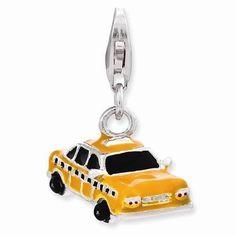 NEW AMORE LA VITA 925 SOLID STERLING SILVER ENAMEL TAXI CAB DANGLE CHARM LOBSTER #AmoreLaVita #European