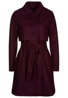 JUST FEMALE NORMA Płaszcz wełniany bordo klasyczny czerwony