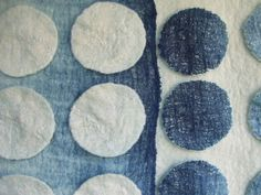 blue and white nuno felt ombre wallhanging detail
