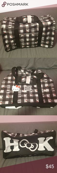 Hello Kitty Travel Carry On Luggage Bag Bag is brand new, unused, but original price tag came off. One size travel carry on luggage duffle bag. Bag is black. White, and gray hello Kitty checkers. Hello Kitty Bags Travel Bags