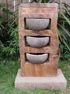 Hypertufa, wood sculpture