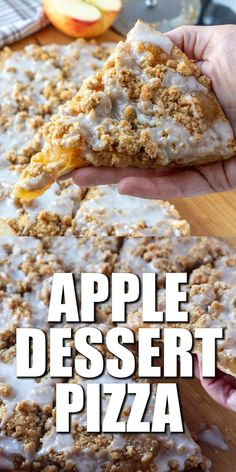 This Apple Dessert Pizza is a quick dessert that everyone loves! Pizza crust, apple pie filling, crumble topping and a sweet icing drizzle. easy 3 ingredients easy for a crowd easy healthy easy party easy quick easy simple Apple Dessert Recipes, Apple Crisp Recipes, Easy Desserts, Baking Recipes, Apple Crisp Pizza, Healthy Apple Desserts, Finger Food Desserts, Popcorn Recipes, Oats Recipes