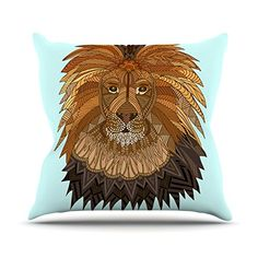 KESS InHouse AP1003AOP03 18 x 18-Inch 'Art Love Passion Lion Blue Brown' Outdoor Throw Cushion - Multi-Colour ** Read more details by clicking on the image. #GardenFurnitureandAccessories