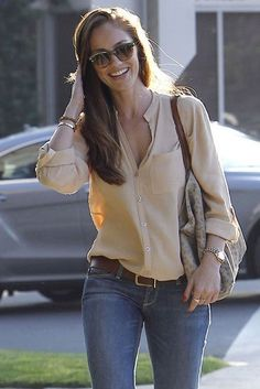 ideal casual outfit = silk shirt, great jeans and gold accessories