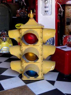 Antic's Shop - Brocante américaine Antiquités US - Monumental feu tricolore quadriface