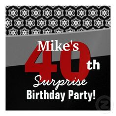 40th Surprise Birthday Black White Red Stars Custom Announcements