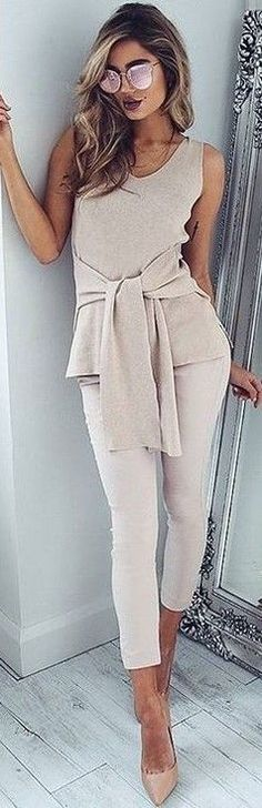 #fall #executive #peonies #outfits | All Nude 'Extender' Top + 'Overtime Pants'
