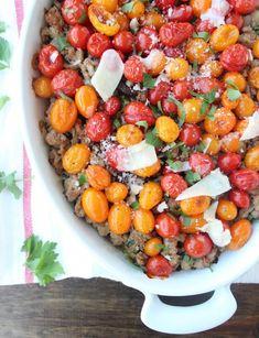 Italian Polenta Turkey Casserole Recipe | Ground turkey, tomatoes, polenta, mushrooms